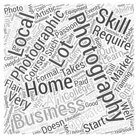 Starting a Home Business In Photography Word Cloud Concept Illustration