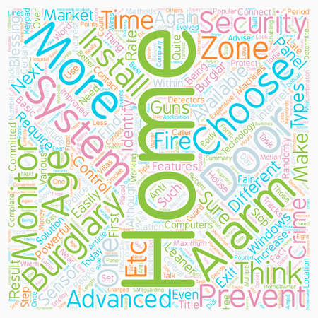 Stop Burglars In Their Tracks a How To Choose A Home Alarm System text background wordcloud concept