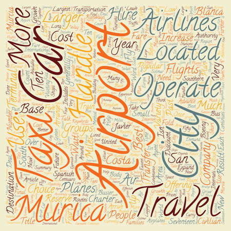 The Airport Of Murcia And How To Get Around text background wordcloud concept.