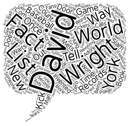 The David Wright Facts List text background wordcloud concept
