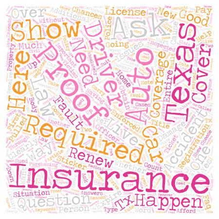 Texas Auto Insurance FAQ text background wordcloud concept