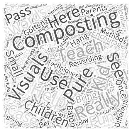 Teach Composting to Kids Word Cloud Concept Illustration