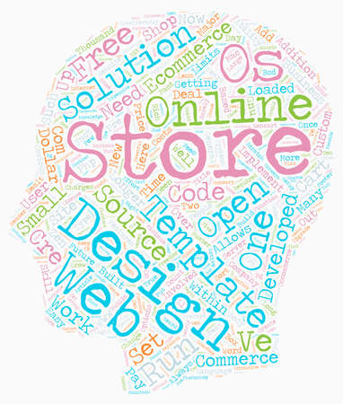 The future of ecommerce store development text background wordcloud concept