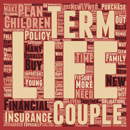 Term Life Insurance For Newlyweds text background wordcloud concept.