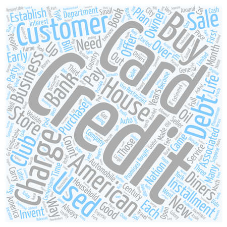 The Credit Card Years Of Service text background wordcloud concept.