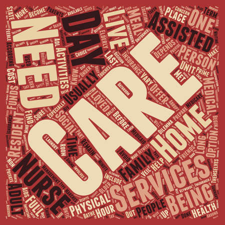 The Differences In Elder Care Services text background wordcloud concept Stock Illustratie