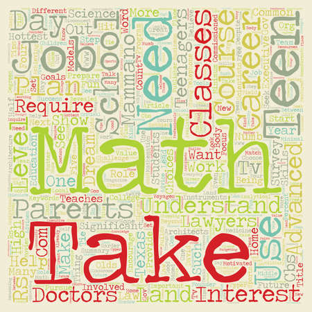 Teens Need Math To Land Dream Jobs text background wordcloud concept