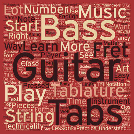 The Art Behind Bass Guitar Tabs text background wordcloud concept