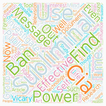 The Art Of The Subliminal Message The Power Of The CIA text background wordcloud concept Illustration