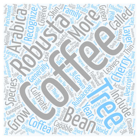 The Anatomy Of A Coffee Tree text background wordcloud concept Ilustração