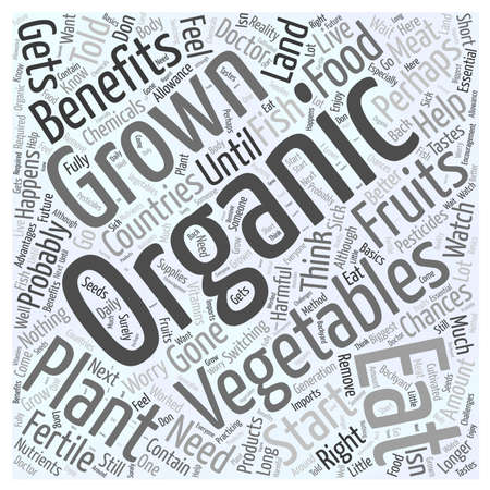 told: The Benefits of Eating Organically Grown Vegetables Word Cloud Concept.