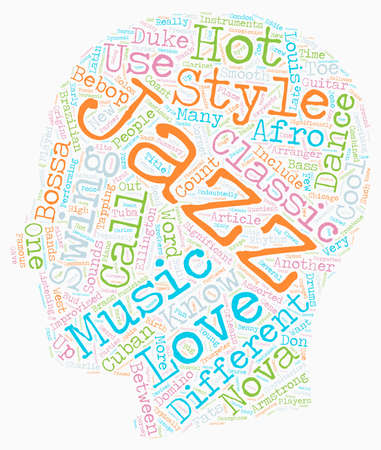 The Different Styles Of Jazz text background wordcloud concept Vettoriali