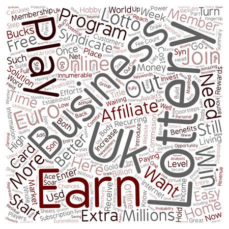 The E lottery Home Business Opportunity text background wordcloud concept