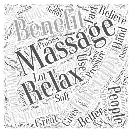 Les avantages de la thérapie de massage Word Cloud Concept Vecteurs