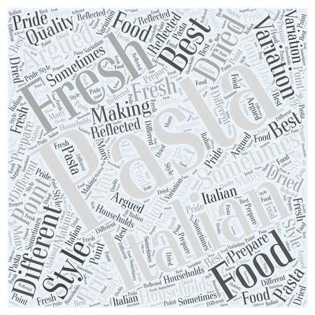 이탈리아 음식 단어 구름 개념에있는 다른 파스타