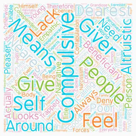 dearest: The Compulsive Giver text background wordcloud concept Illustration