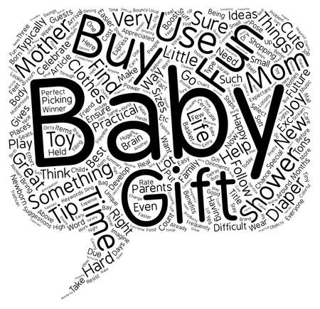 The Best Baby Shower Gift Ideas text background wordcloud concept.