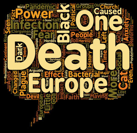 The Black Death and how it changed Europe text background wordcloud concept
