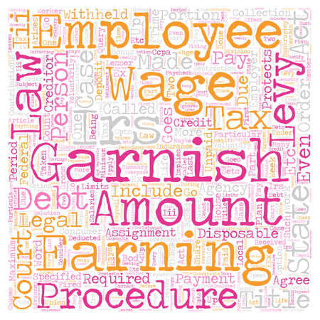 The Legal Procedure Of Wage Garnishment text background wordcloud concept. Illustration