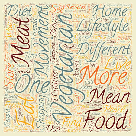 The Lifestyle of a Vegetarian text background wordcloud concept.