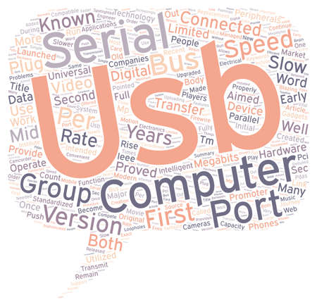 The Journey From USB 1 1 To USB 2 0 text background wordcloud concept Çizim