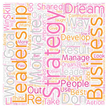 The Leadership Strategy An Unmined Comstock Lode of Results text background wordcloud concept Illustration