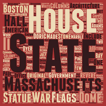 The Massachsetts State House text background wordcloud concept Ilustração