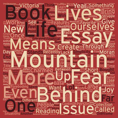 La montaña detrás del texto wordcloud concepto de fondo de la montaña