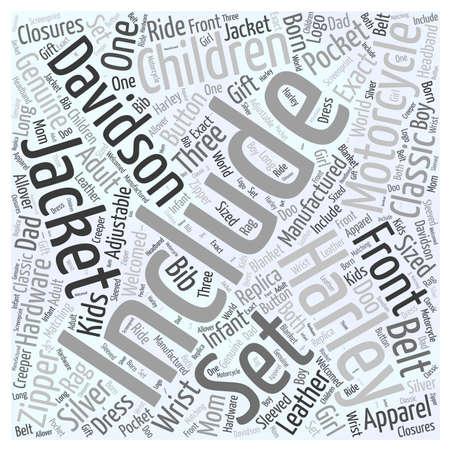 The Must Have Harley Davidson Apparel for Children Word Cloud Concept Illustration