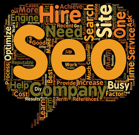 optimizing: When Should You Hire A SEO Company text background wordcloud concept