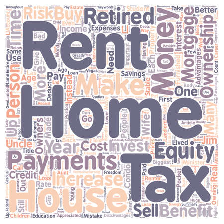 ownership equity: Why Own a Home Instead of Rent text background wordcloud concept
