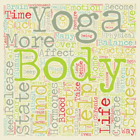 Yoga A Cure for Modern Day Stress text background wordcloud concept