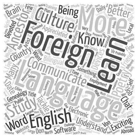 developed: Why Should I Learn a Foreign Language text background wordcloud concept Illustration