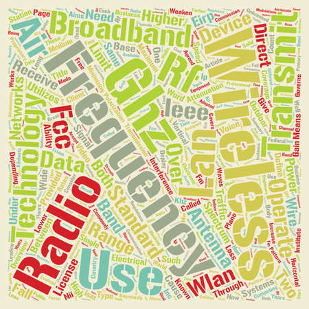 Wireless Broadband Overview Of Ieee Wireless Lan Technology text background wordcloud concept Ilustrace