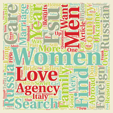 Why women from Russia in search of a husband abroad text background wordcloud concept Illusztráció