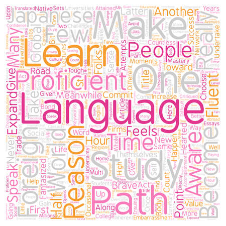 Why Learn A Foreign Language Reasons text background wordcloud concept