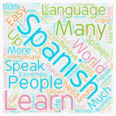Why Should I Learn Spanish text background wordcloud concept Ilustração