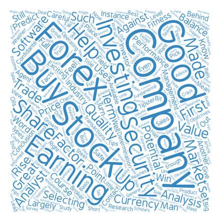 Hoe een goed aandeel of valuta kiezen om de tekstachtergrond van Word Cloud Concept te verhandelen