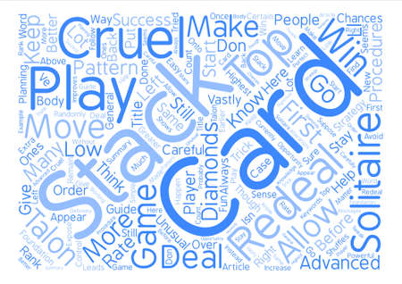 Cruel Solitaire Strategy Guide Word Cloud Concept Text Background