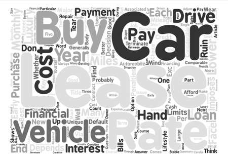 comparable: Buy Or Lease Your Next Automobile text background word cloud concept Illustration