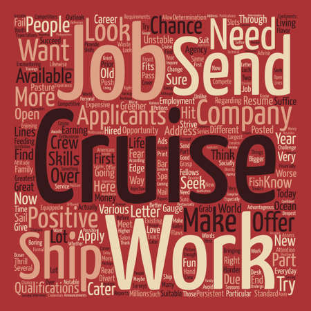 cruise ship jobs text background word cloud concept Illustration