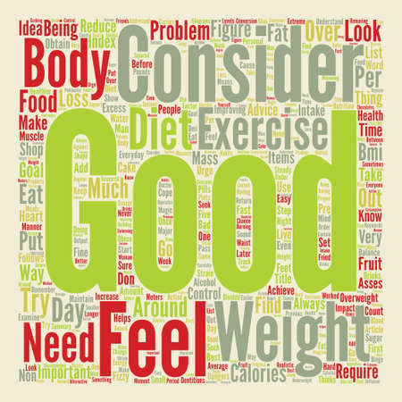 Control your Weight and Feel the Improvement text background word cloud concept Illustration