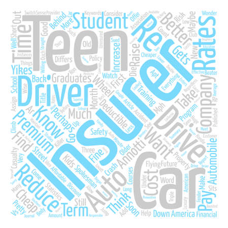Cheap Auto Insurance For Your Teen Or Maybe Not Word Cloud Concept Text Background Illustration