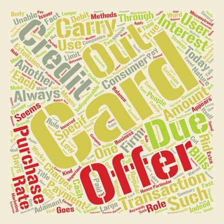 Kredietkaartaanbiedingen krijgen het beste uit het tekstachtergrond woordwolkconcept