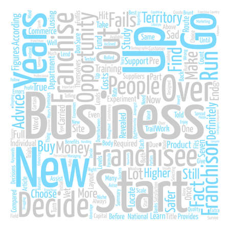 safer: Buy A Franchise Or Start A Business Word Cloud Concept Text Background Illustration
