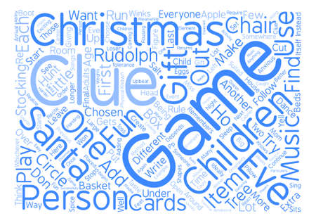 ideally: Christmas eve games text background word cloud concept
