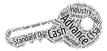 Cash Advance Industry Standards text background word cloud concept Illustration