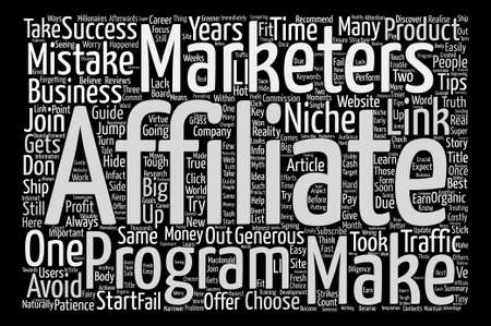 marketers: Costly Mistakes Affiliate Marketers Make In Their Career Word Cloud Concept Text Background
