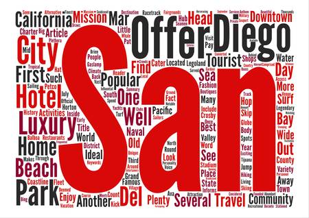 informs: San Diego Inside and Out Word Cloud Concept Text Background Illustration
