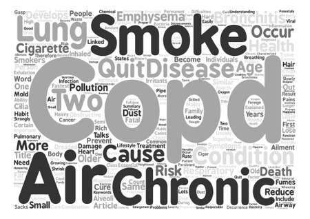 COPD 호흡기 질환 설명 텍스트 배경 단어 구름 개념 일러스트